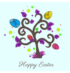 easter tree Holiday card Violet color vector image