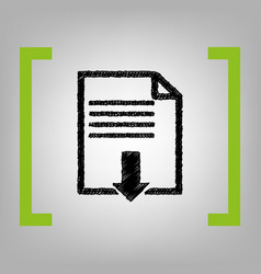 file download sign black scribble icon in vector image