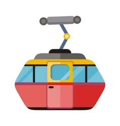 Funicular railway cable car isolated vector