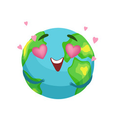 Funny earth planet character with pink heart vector