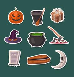 Halloween party cartoon icons set vector