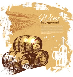 Hand drawn wine vintage background vector image vector image