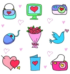 Love theme object of doodles vector