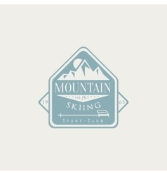 Mountain skiing emblem design vector