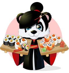Panda sushi vector image