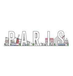 Paris travel lettering in linear style vector