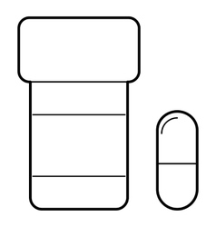 Pills in jar icon outline style vector