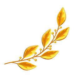 realistic gold laurel branch decorative element vector image vector image