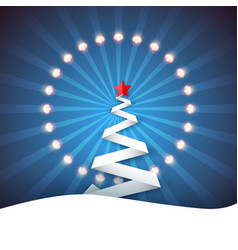 Ribbon paper fir snow ray star light garland vector