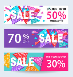 Sale banners discount coupons template set vector