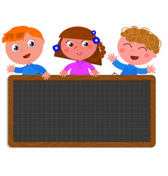 school children holding a black board vector image vector image