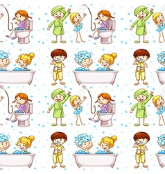 Seamless background with kids in bathtub vector image vector image