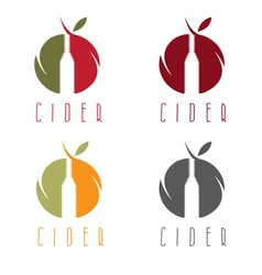 Set of cider with apple and bottle vector