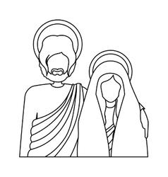 Silhouette half body virgin mary and saint joseph vector