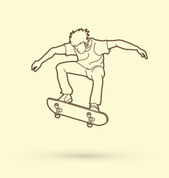 Skateboarder jumping outline graphic vector
