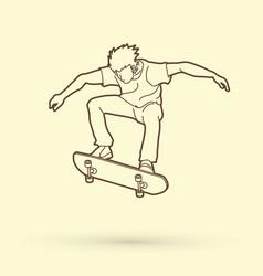 Skateboarder jumping outline graphic vector