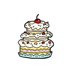 wedding or anniversary cream cake with cherries vector image