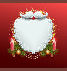 white beard of santa claus christmas greeting vector image