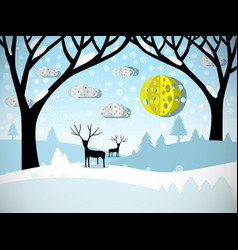 winter landscape field covered with snow trees vector image