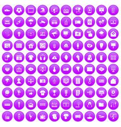 100 tv icons set purple vector