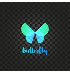 Isolated turquoise butterfly logo insects vector