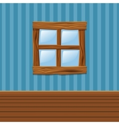 Cartoon wooden old window home interior vector