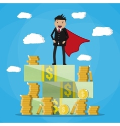 Happy businessman standing on pile of money vector