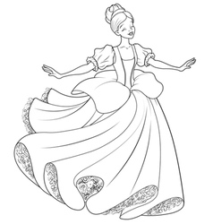 The ball dance of cinderella coloring page vector
