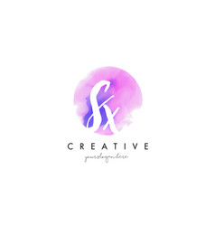 Sx watercolor letter logo design with purple vector