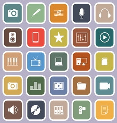 Media flat icons on violet background vector