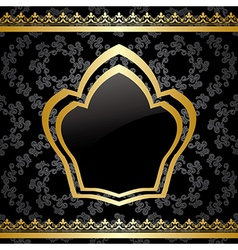 Black background with golden heraldic frame vector