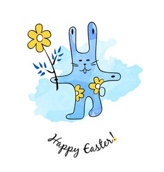 Cartoon easter bunny with flower vector