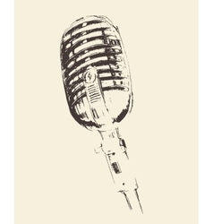 Studio microphone vintage engraved retro vector