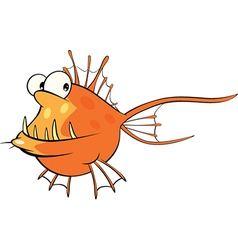 Deep-water fish monkfish cartoon vector
