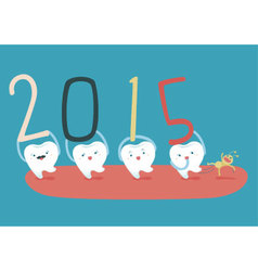 Happy new years of teeth vector