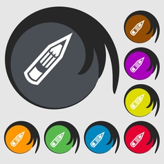 Pencil icon sign symbol on eight colored buttons vector