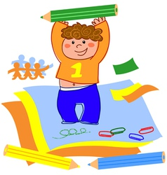 Boy drawing and playing with paper vector image