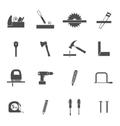 Carpentry tools black icons set vector