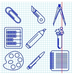 Black school goods icons part 2 vector