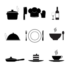 Cooking and kitchen icons black on white vector