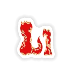 Sticker fiery font red letter l on white vector