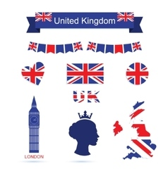 United kingdom symbols uk flag icons set vector