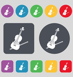 Violin icon sign a set of 12 colored buttons flat vector