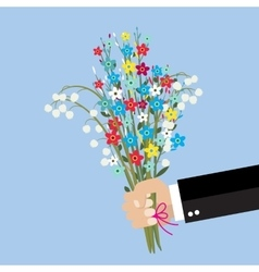 cartoon businessman hand holding bouquet flowers vector image