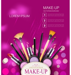 Background with cosmetics and make-up objects vector