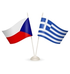 Table stand with flags of greece and czech vector