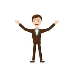 Businessman with raised arms icon cartoon style vector