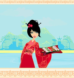 beautiful Asian girl enjoy sushi - menu template vector image