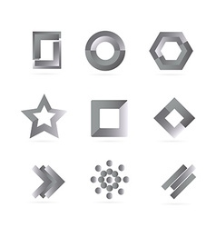 Black white grey logo elements set vector image vector image