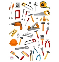 Building repair work tools isolated icons vector